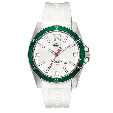 Lacoste - Men+s white branded rubber strap watch