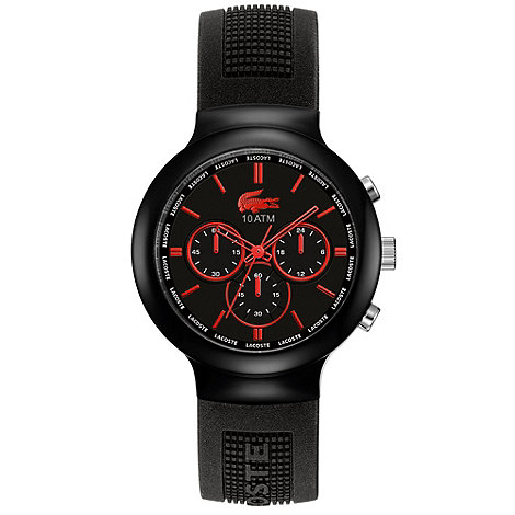 Lacoste - Men+s red textured rubber strap watch