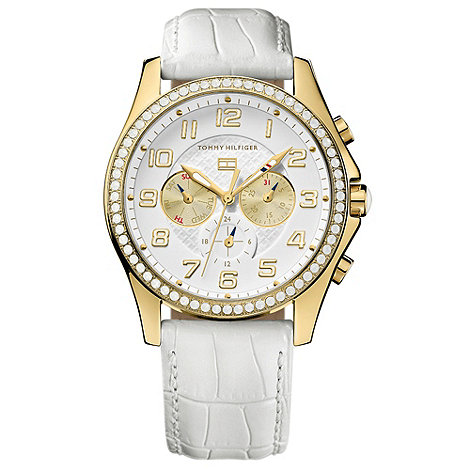 Tommy Hilfiger - Ladies white and gold multi-dial leather watch