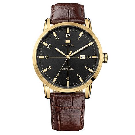 Tommy Hilfiger - Men+s brown leather strap watch