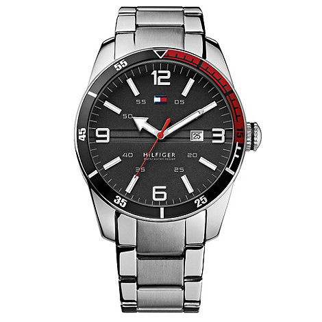 Tommy Hilfiger - Men+s stainless steel and black watch