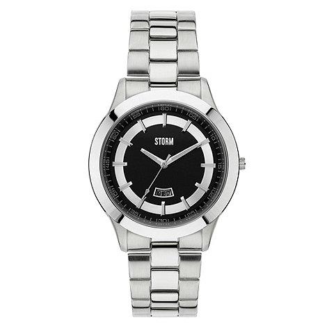 STORM London - Men+s slim black round dial watch