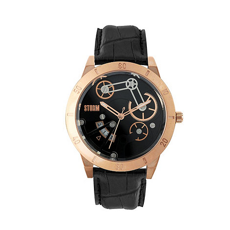 STORM London - Men+s round face rose gold leather strap watch with multiple cog dial