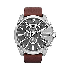 Diesel - Men's 'Mega chief' gunmetal dial brown strap watch