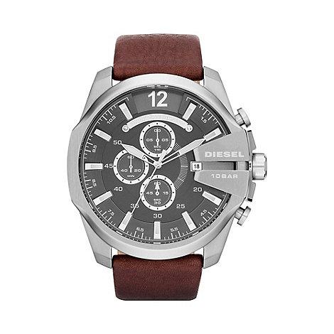 Diesel - Men+s +Mega chief+ gunmetal dial brown strap watch