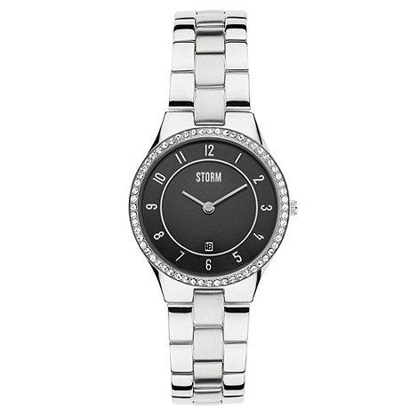 STORM London - Ladies black round dial SWAROVSKI crystal watch