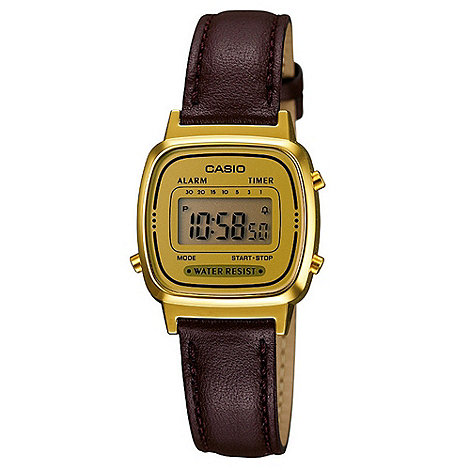 Casio - Ladies brown square digital watch