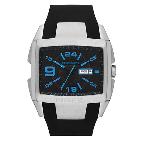 Diesel - Men+s diesel black silicone analogue watch
