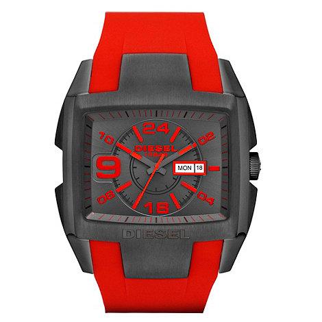 Diesel - Men+s diesel red silicone analogue watch