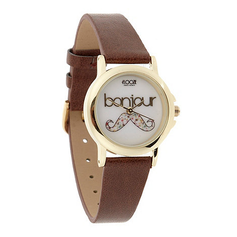 Floozie by Frost French - Ladies tan moustache dial watch