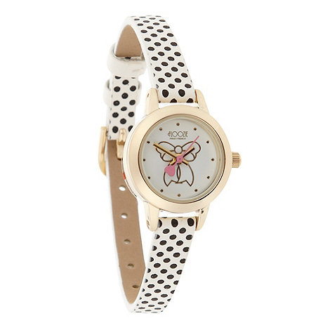 Floozie by Frost French - Ladies white polka dot strap watch