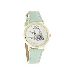 Floozie by Frost French - Ladies light turquoise 'Time Flies' watch