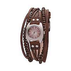 Kahuna - Ladies brown round dial, multi strand strap watch