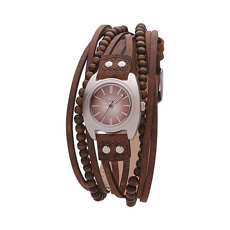 Kahuna - Ladies brown round dial, multi strand strap watch kls-0083l