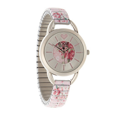 Floozie by Frost French - Ladies pink floral stretch bracelet watch