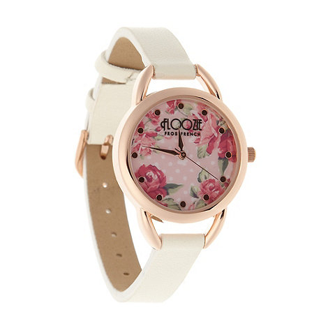 Floozie by Frost French - Ladies white floral dial watch