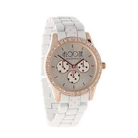Floozie by Frost French - Ladies white polka dot link bracelet watch