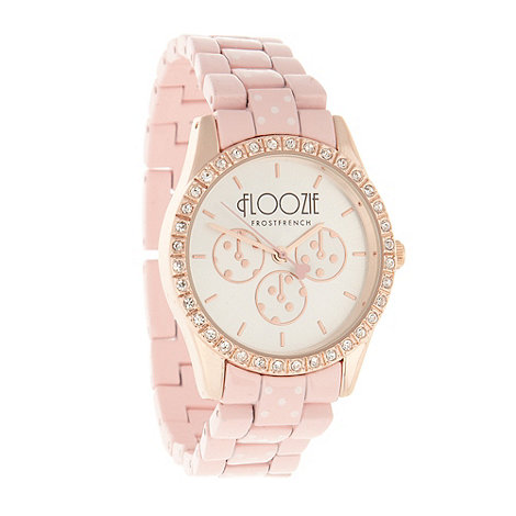 Floozie by Frost French - Ladies pink polka dot link bracelet watch