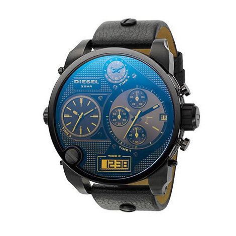 Diesel - Men+s black round chronograph dial, blue face watch