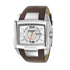 Diesel - Men's brown square dial, white face and black leather strap watch