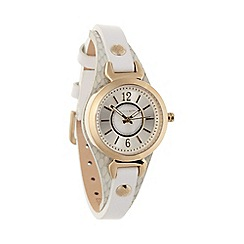 Bailey & Quinn - Ladies white 'Ampersand' skinny leather strap watch