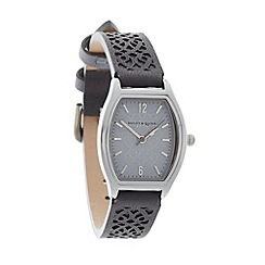 Bailey & Quinn - Ladies grey laser cut leather strap watch