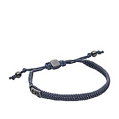 Fossil - Gents blue leather braided bracelet