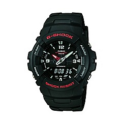 G-shock - Men's  black round case, black resin strap watch