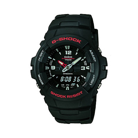 G-shock - Men+s  black round case, black resin strap watch