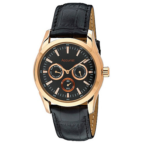 Accurist - Men+s rose gold case on leather strap