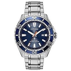 Citizen - Men's silver 'Eco-Drive' divers watch BN0191-55L