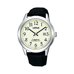 Lorus - Ladies black round case leather strap watch