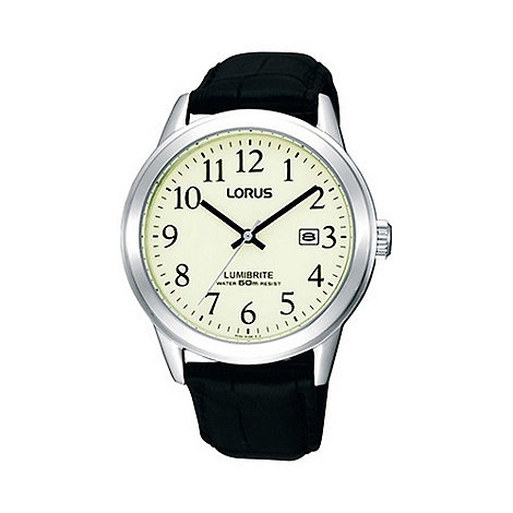 Lorus - Gents black round case leather strap watch