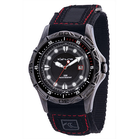 Kahuna - Men+s black/red strap watch