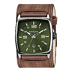 Kahuna - Men's green dial brown leather cuff strap watch