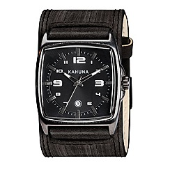 Kahuna - Men's black dial cuff style leather strap watch