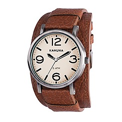 Kahuna - Men's cream dial oversized case tan leather cuff strap watch