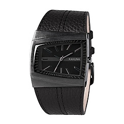 Kahuna - Men's black asymmetric dial leather strap watch