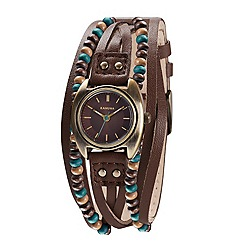 Kahuna - Ladies multi-strand brown leather and beaded watch