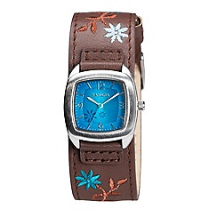 Kahuna - Ladies blue dial brown leather embroided strap watch