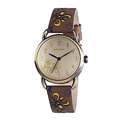 Kahuna - Ladies champagne dial brown cut out leather strap watch