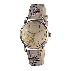 Kahuna - Ladies champagne dial grey cut out leather strap watch