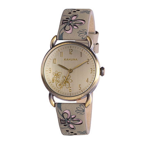 Kahuna - Ladies champagne dial grey cut out leather strap watch kls-0252l
