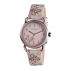Kahuna - Ladies cream dial cut out leather strap watch