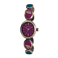 Kahuna - Ladies purple dial enamel insert bracelet watch