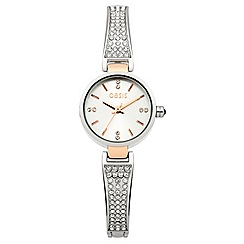 Oasis - Ladies stone set half bangle bracelet watch with silver dial