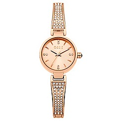 Oasis - Ladies stone set half bangle bracelet watch with rose gold dial