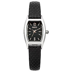 Oasis - Ladies black snakeskin leather strap watch with black dial