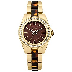 Oasis - Ladies gold coloured/tortoise shell bracelet watch with brown stone set dial