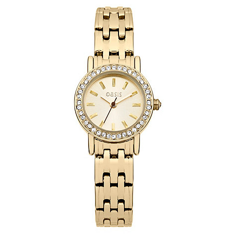 Oasis - Ladies gold coloured bracelet watch with stone set dial